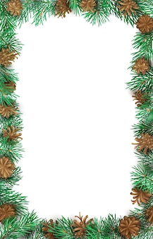 Festive vertical frame of high detailed pine branches and cones on white background.