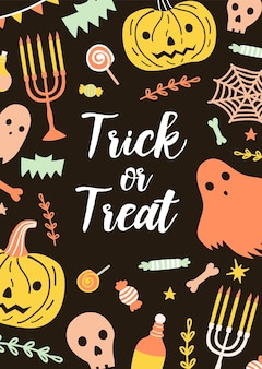 Festive vertical halloween card or postcard template with trick or treat lettering surrounded by creepy holiday creatures and magic items