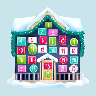 Festive watercolor advent calendar