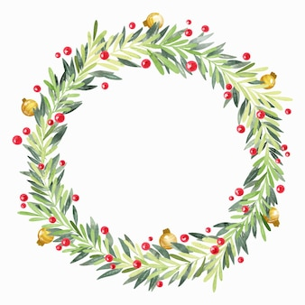 Festive watercolor christmas wreath with empty space