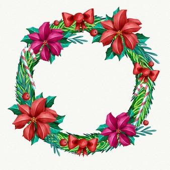 花とお祝いの水彩画のクリスマスリース