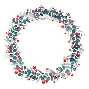 Праздничный акварельный рождественский венок