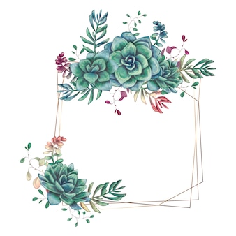 Festive wedding frames with colorful succulents.