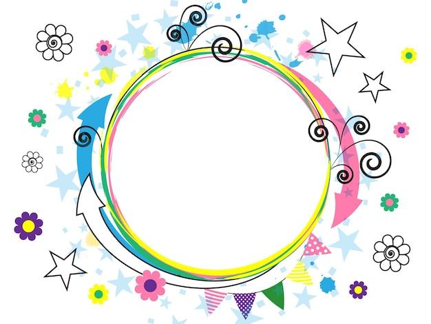 カラフルな漫画の要素とお祝いの白い背景。抽象化。矢印、らせん、星、花。陽気なマルチカラーデザイン。ベクトルイラスト。