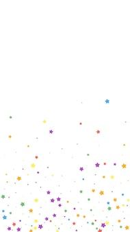축제의 멋진 색종이 조각. 축하 별. 흰색 바탕에 즐거운 별입니다. 훌륭한 축제 오버레이 템플릿입니다. 수직 벡터 배경입니다.