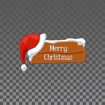 Festive wooden sign board with words merry christmas - holiday decoration