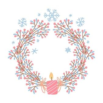 Праздничный венок со свечой. рождественский декоративный элемент дизайна hygge. цветочные отруби с ягодами