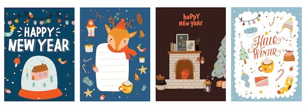 축제 크리스마스 인사말 카드 서식 파일이 설정합니다. 기쁜 성 탄과 새 해 복 많이 받으세요 엽서, 포스터 디자인 팩.