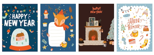 Festive xmas greeting cards templates set. merry christmas and happy new year postcards, posters designs pack.