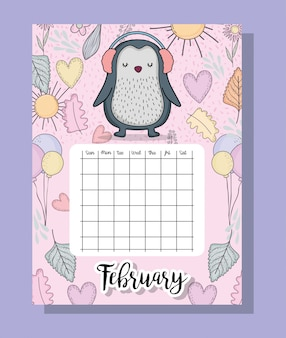 Feubrary calendar information with penguin and flowers