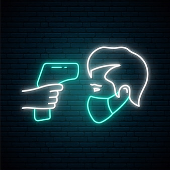 Fever check line icon in neon style.