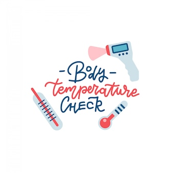 Fever check print with hand drawn lettering. illustrations of different types of thermometers.
