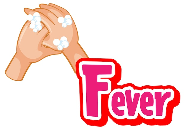 Fever font design with virus spreads from shaking hands on white background