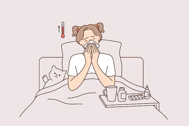 발열 질환 및 아픈 느낌 개념