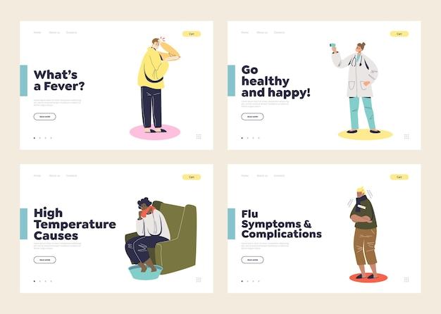 Fever symptoms landing pages set with patients template