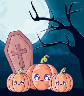 ハロウィーンのシーンにキリスト教の十字架と木製のffin