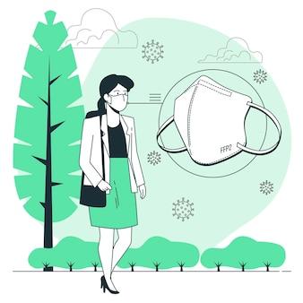 Иллюстрация концепции маски для лица ffp2