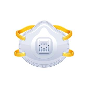 人工呼吸器ffp3。 ppeサージカルマスクベクトルイラスト。コロナウイルスcovid 19は機器を保護します。