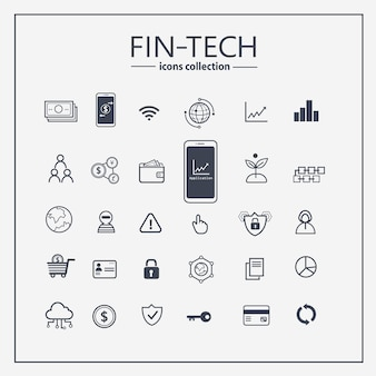 Fianancial technology outline icon set