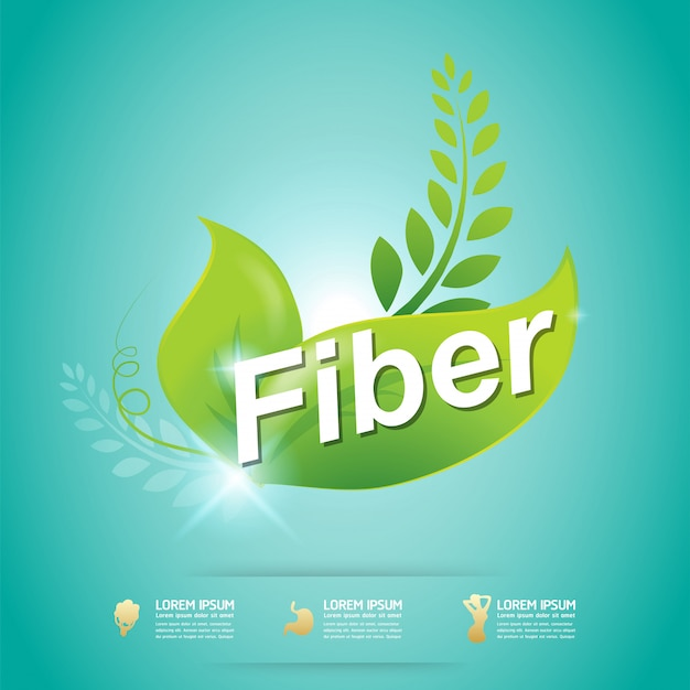 Fiber in green foods organic vector concept label