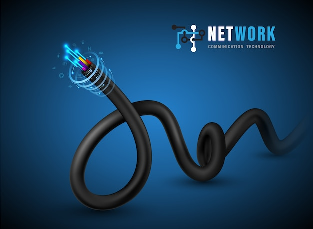 Fiber optic cable connecting concept.