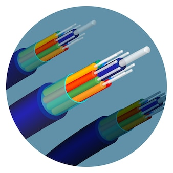 Fiber optics cable technology set in circle. important items in telecommunication used to help to transmit signals. optical objects isolated