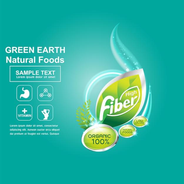 Логотип органического волокна для здорового продукта