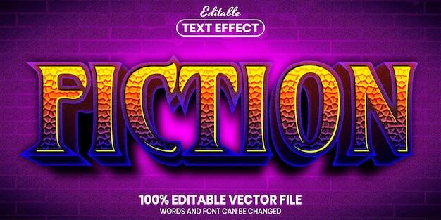 Fiction text, font style editable text effect