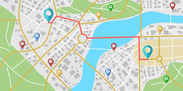 川や公園のある架空の都市地図ナビゲーション。