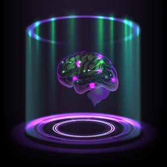 Fictional concept of luminous cybernetic human brain hologram on dark background