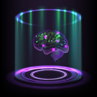 Вымышленная концепция светящейся кибернетической голограммы человеческого мозга на темном фоне