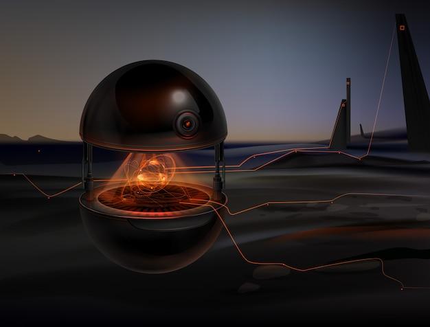 スキャン環境であるオレンジ色の発光インターフェースを備えた架空のドローンアシスタント