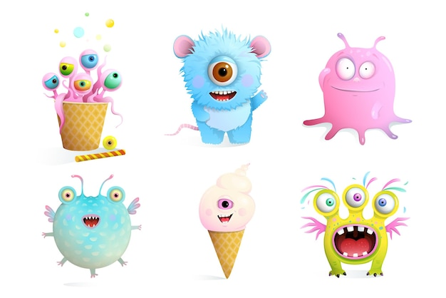 Fictional monsters characters collection for kids.