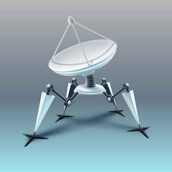 Of fictional quadruped robot with parabolic satellite dish isolated on light background