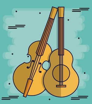 Fiddle and guitar instruments icon