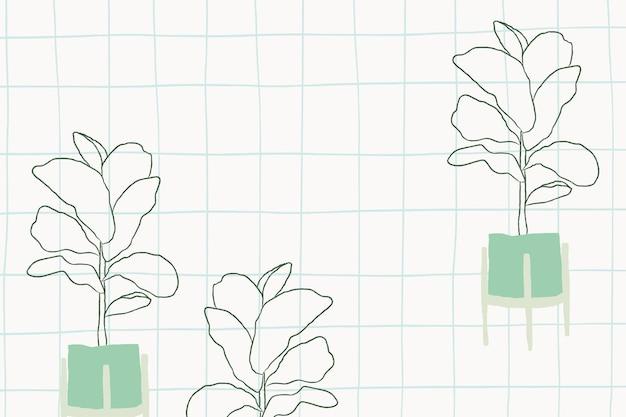 Fiddle leaf fig doodle vector in grid background