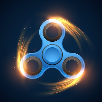 Fidget spinner with neon light spinning effect vector illustration