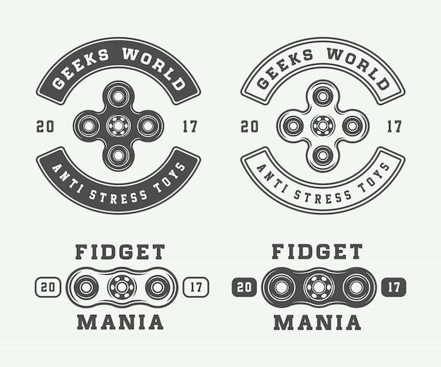 Fidget spinners logos, emblems