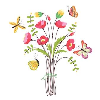 필드 꽃다발 비행 나비