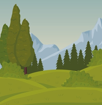 森のデザインとフィールドキャンプの風景シーン