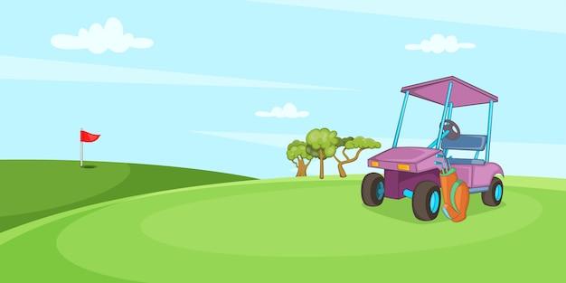Field of golf horizontal banner, cartoon style
