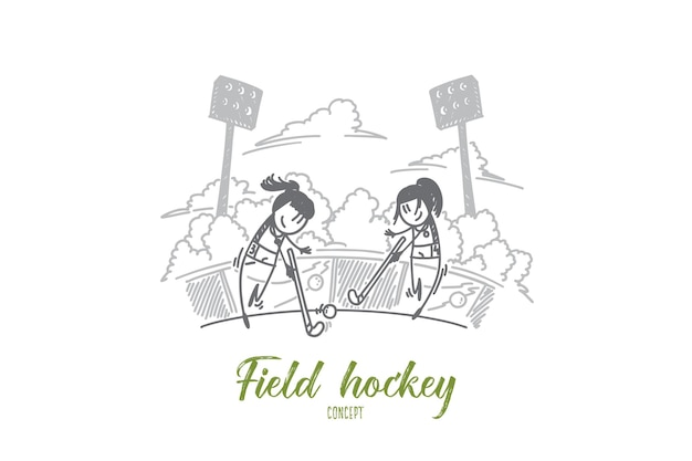 Field hockey concept. hand drawn two female hockey players. field hockey competition between women isolated vector illustration.