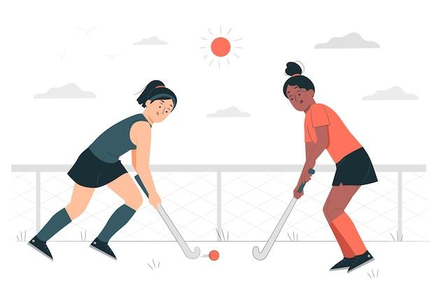 Illustrazione del concetto di hockey su prato