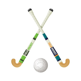 Field hockey equipment and small ball. game played between two teams who use hooked sticks to drive small hard object toward goals isolated on