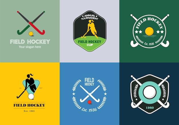 Field hockey logo set