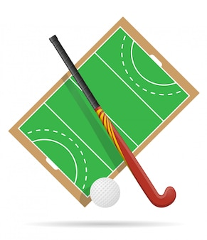 Field of play in hockey on grass.