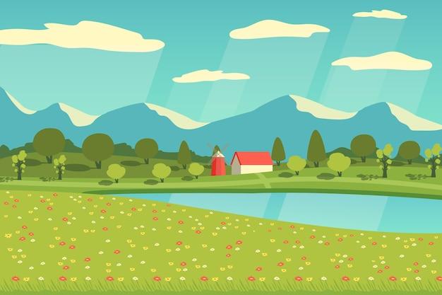 Field on a sunny day spring landscape