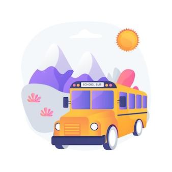 Illustrazione di concetto astratto di viaggio di campo. gita scolastica, escursione per alunni, viaggio di gruppo di studenti, esplorazione della natura, tour culturale, attività del processo scolastico