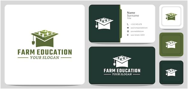 Field with graduation hat logo design vector symbol of farming education