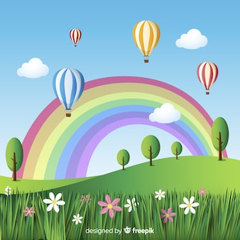 Field with rainbow spring background